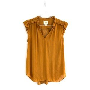 Anthropologie Maeve Sleeveless Ruffled Top Medium